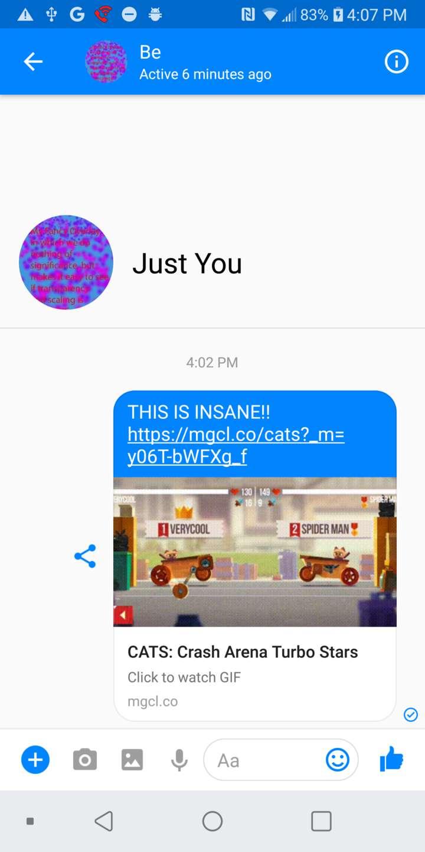 Demonstration of sharing to Facebook Messenger