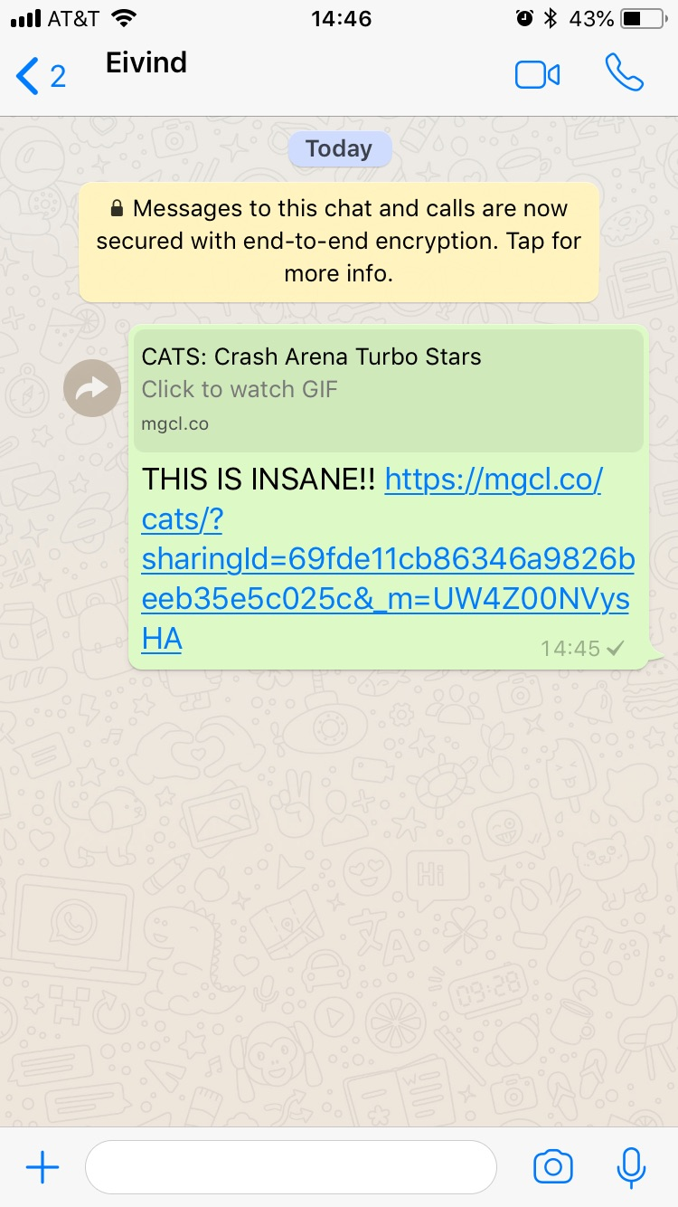 Demonstration of sharing to WhatsApp